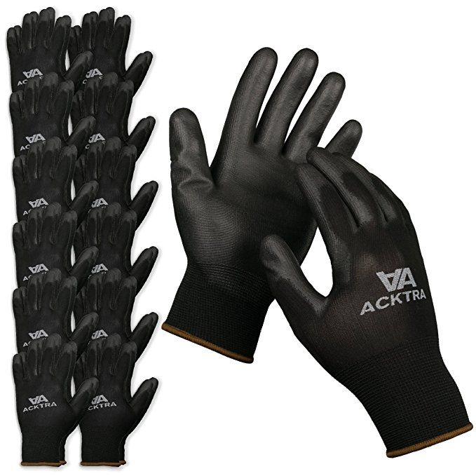 Black GlovBE 12 Pairs Gardening Working Thin Gloves Coated PU Safety Rubber Comfort Gloves for Men /& Women Polyurethane