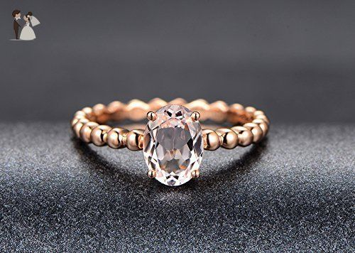 Solid 18k Rose gold promise ring,solitaire engagement ring,1.2ct Oval Natural VS pink Morganite,prong set - Wedding and engagement rings (*Amazon Partner-Link)