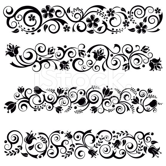 Floral Border Set royalty-free stock vector art