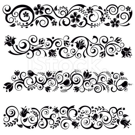 Floral Border Set royalty-free stock vector art