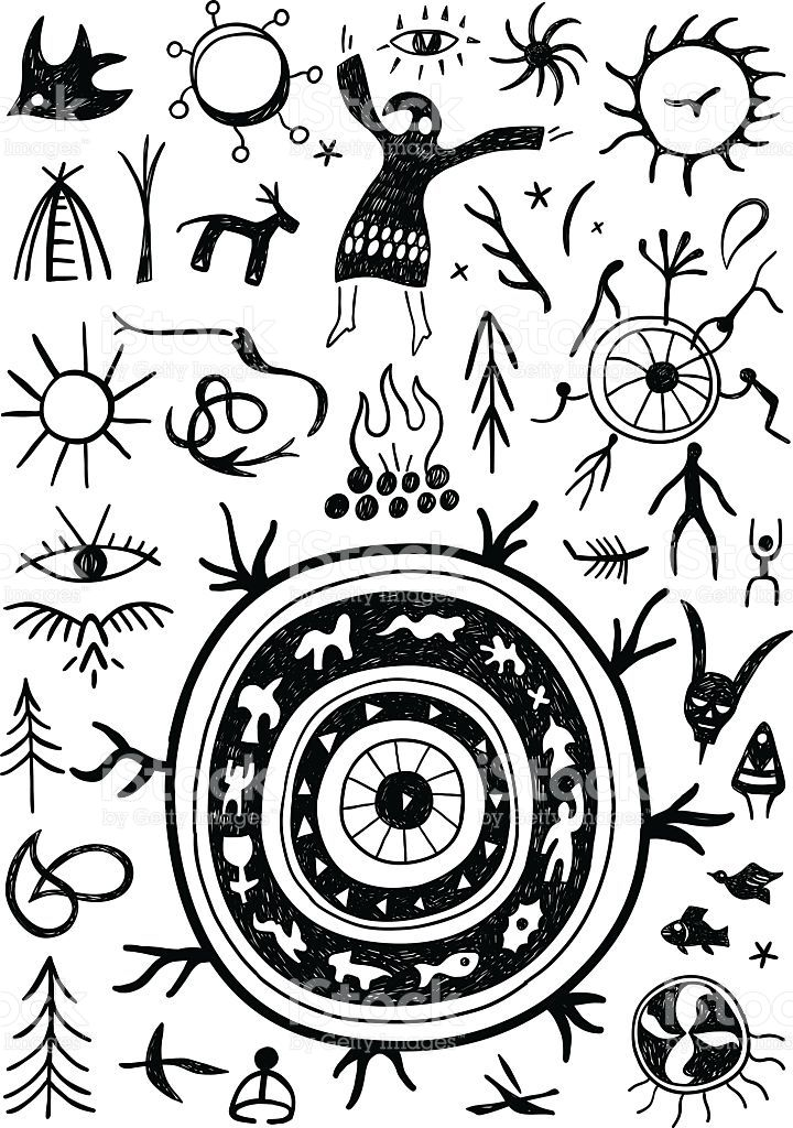 shamans ritual doodles set icons in graphic style | symbols