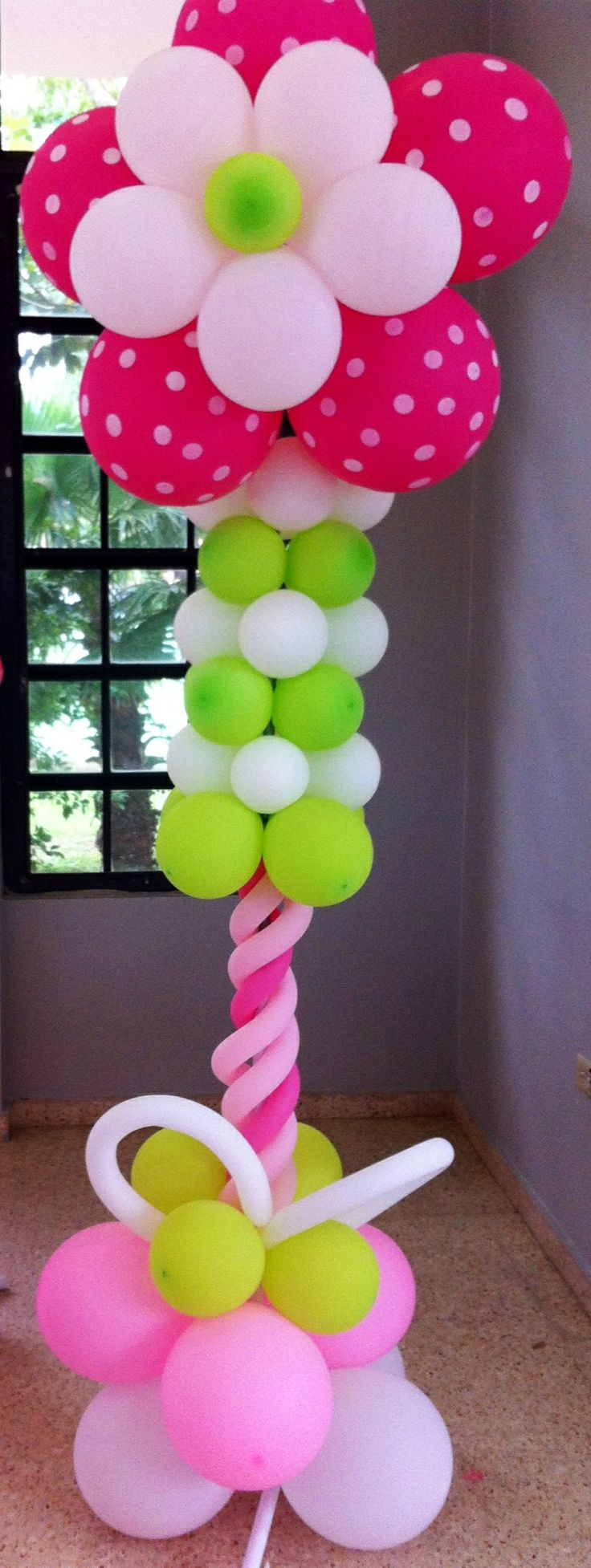 Flower balloon column. Girl Baby shower