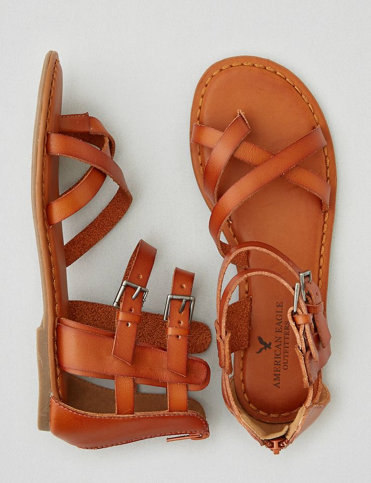 AEO Strappy Gladiator Sandal, Tan | American Eagle Outfitters