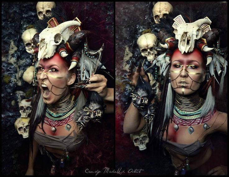 A witch, pirate, and something inspired by the witchdoctor from diablo 3. Everything in these pictures is handmade by me: headdresses, styling, backdrops, photography, modelling, nails etc. Creature like things do take quite some time to create.