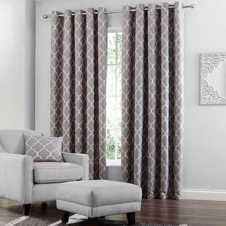 Grey Bali Lined Eyelet Curtains