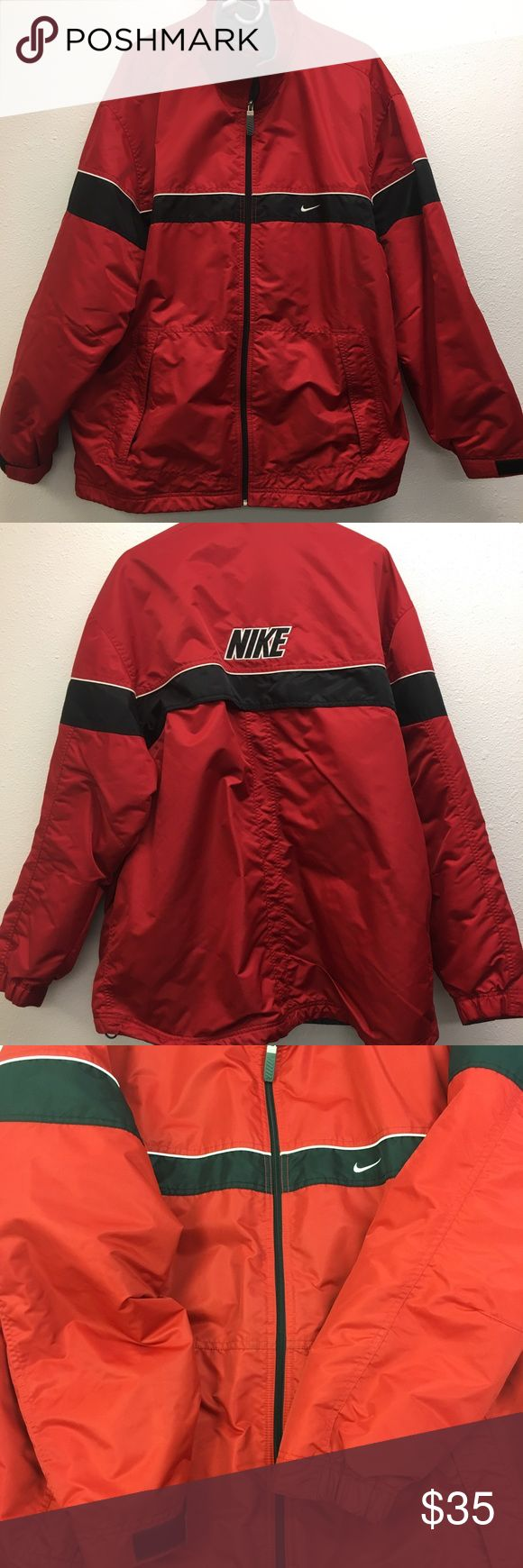 Men's XL Red Nike Coat. Very warm pre-owned jacket that is in great condition. Rarely worn. This coat has an inside pocket, 2 external pockets to keep your hand warm when need be. There is a drawstring at the waist and a gray warm lining. Nike Jackets & Coats Ski & Snowboard