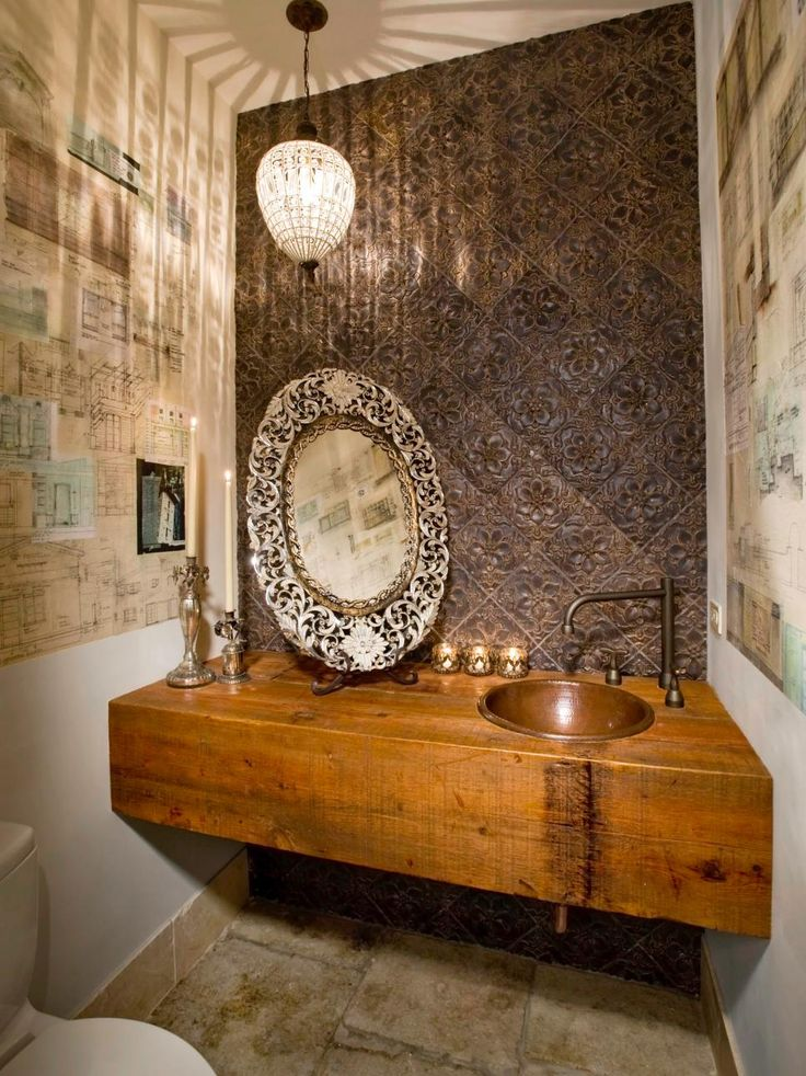 A Crystal Pendant Light Casts A Soft Glow Across This Opulently Designed  Bathroom. Metallic Elements Part 80