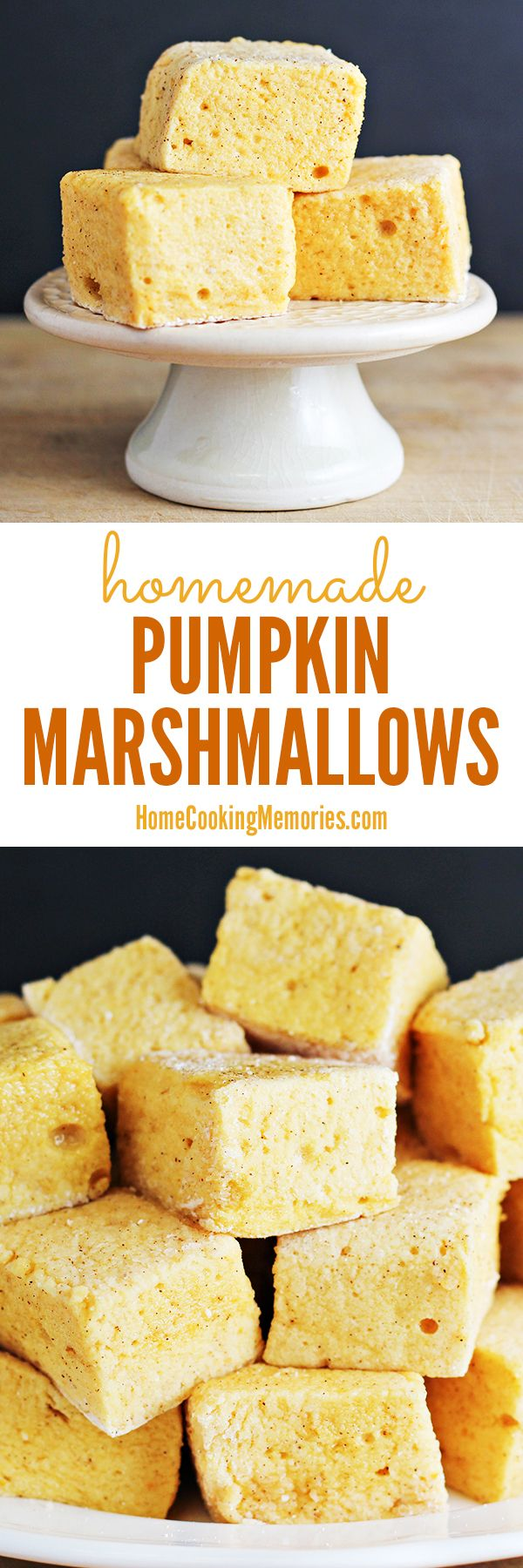 PUMPKIN MARSHMALLOWS  -- homemade marshmallow recipe that are made with pumpkin coffee creamer! Drop one or two into your coffee or hot chocolate for the best fall treat!