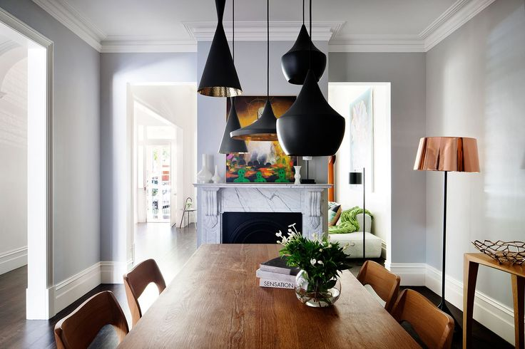 """11/11 In the formal dining room, a cluster of 'Beat' **pendant lights** by Tom Dixon from [De De Ce](http://dedece.com/?utm_campaign=supplier/