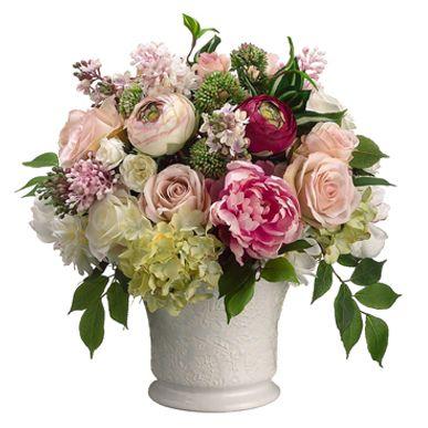 "Peony table arrangements | ... about 14"" Peony, Rose & Ranunculus Silk Flower Arrangement -Pink/Cream"