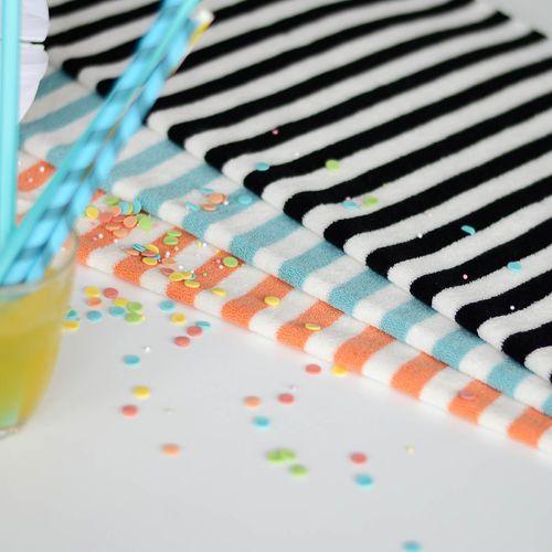 Stripe terry, Papaya/ Vanilla | NOSH Fabrics Spring & Summer 2016 Collection - Shop at en.nosh.fi | Kevään 2016 malliston kankaat saatavilla nyt nosh.fi