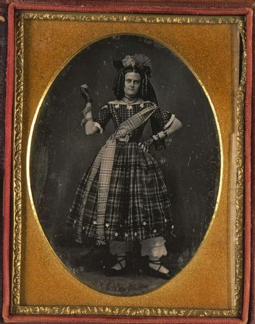 ca. 1840-1860, [daguerreotype portrait of a dramatically posed lady in an elaborate dress, possibly Scottish, with a star pattern, tartan sash and hat]  via the Harvard University's Houghton Library, Department of Printing and Graphic Arts, Harrison D. Horblit Collection of Early Photography