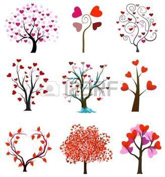 motif coeur: L'amour des arbres notion avec des coeurs. Saint-Valentin ou les vecteurs de noces Illustration