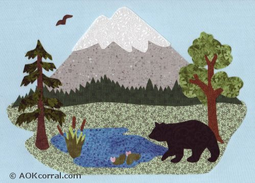 xmas bear silhouette pattern free | Applique Mountain Scene with Woodland, Forest, Lake & Bear