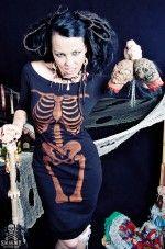 Danse Macabre bleached skeleton off shoulder wiggle dress by SmarmyClothes.comSkeletons Corsets, Macabre Bleach, Off Shoulder, Shoulder Wiggle, Bleach Skeletons, Wiggle Dresses, Dresses Custom, Rockabilly Dresses
