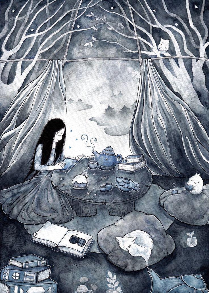 Books and Tea by pseudozufall on DeviantArt