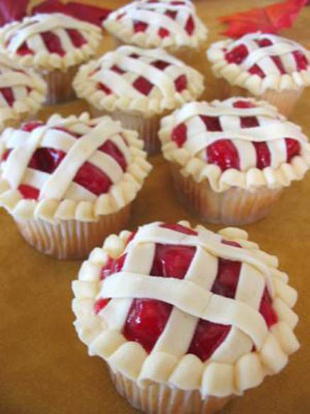 Pie Cupcakes. Any flavor cupcake, cherry pie filling on top, then pipe the frosting in a border and across the top. Very cute.