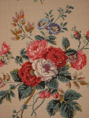 Lovely Antique Early 20th C. French Floral Wallpaper by Paul Dumas