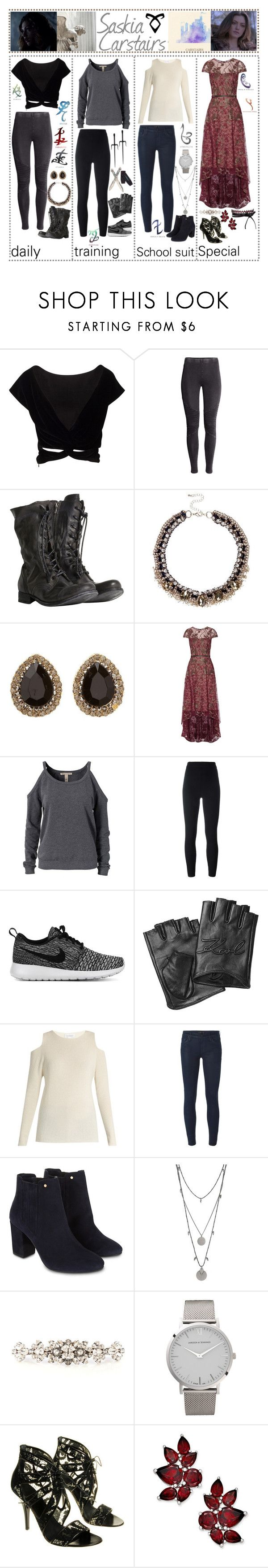 """""""shoutouts for ⚜ idris university ⚜"""" by skyfalll ❤ liked on Polyvore featuring H&M, AllSaints, River Island, Charlotte Russe, Rune NYC, Notte by Marchesa, NLY Trend, Yeezy by Kanye West, NIKE and Karl Lagerfeld"""