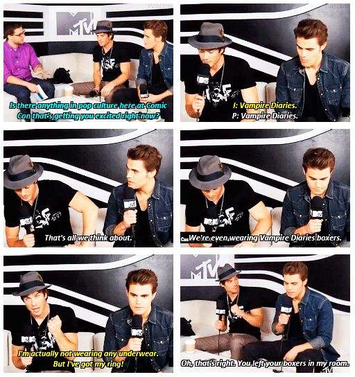 Team Salvatore was #teamnoundies. | The 21 Most Amazing Things That Happened At Comic-Con This Year