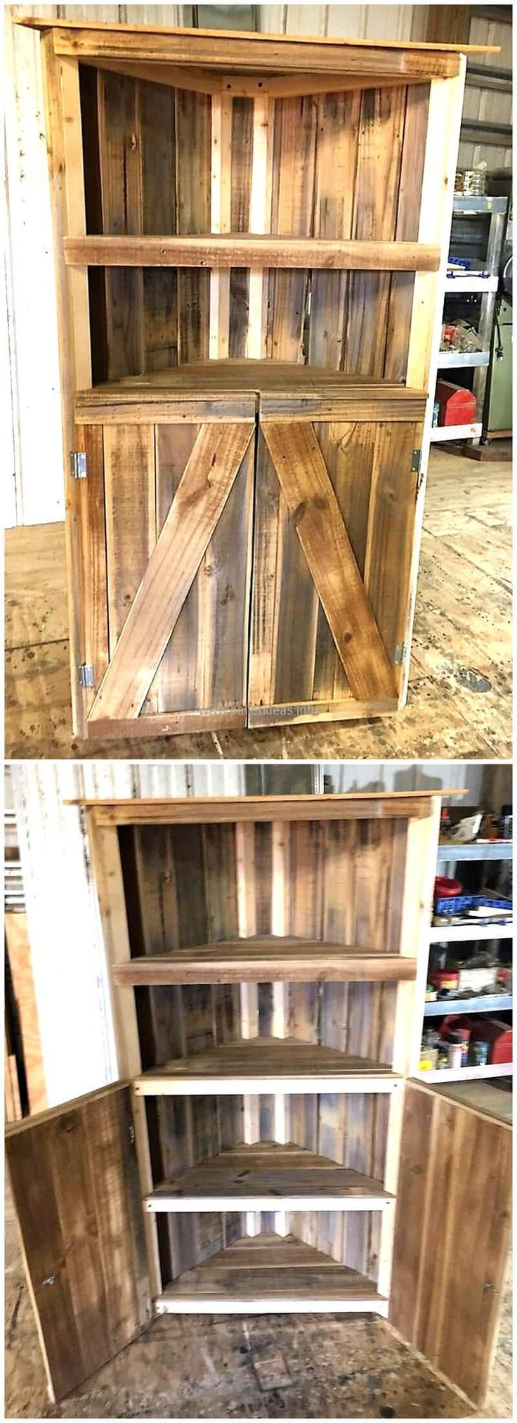 See an upcycled wood pallet corner shelf cabinet and copy this idea if you were looking to buy a furniture piece to adorn the corner because it looks dull. It is free to place the decorative items like the photo frame or the small vases with colorful flowers planted in them for refreshing the eyes as well as air.