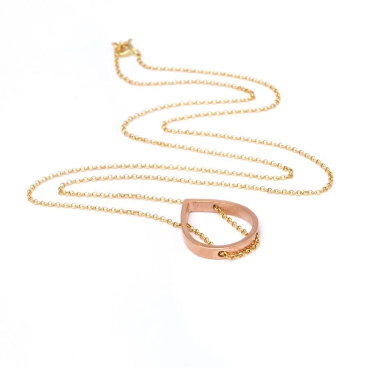 Rose Gold Plated Tear/Silver Gold Plated Chain