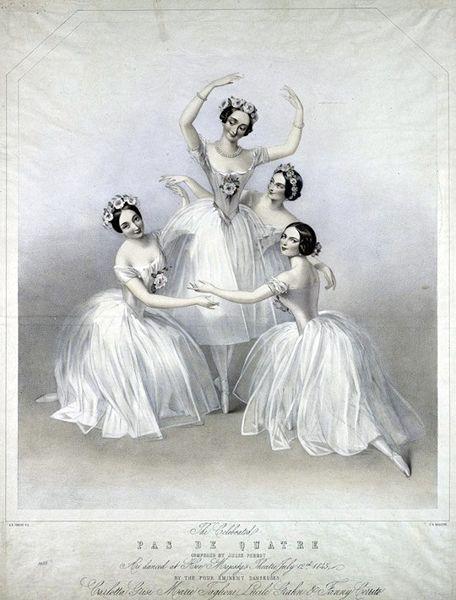 Classic lithograph of Le Grand Pas De Quatre (1845), celebrating the leading ballerinas of the day - Marie Taglioni, Carlotta Grisi, Fanny Cerrito, Lucille Grahn.