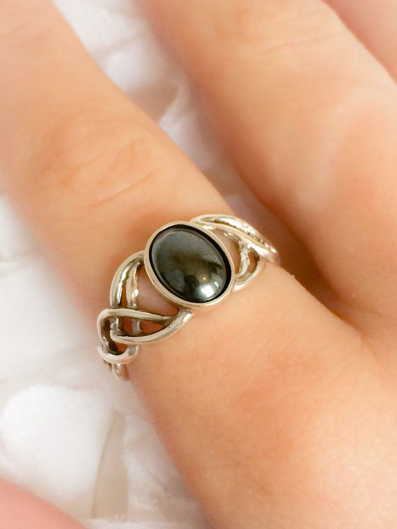 Hematite ring  Celtic silver ring  Boho  Rings for by SwannJewels