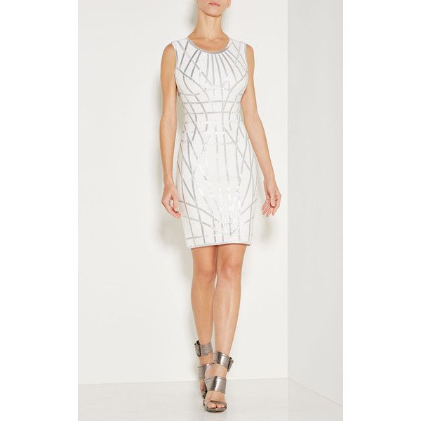 Herve Leger Romee Metallic Caging Bodycon Dress (2,085 CAD) ❤ liked on Polyvore featuring dresses, white, herve leger dress, zip dress, white body con dress, metallic dress and metallic bodycon dress
