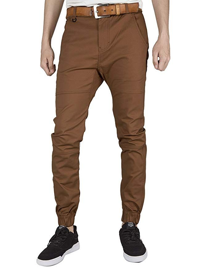 ITALY MORN Mens Casual Chino Trousers Elastic Cuff
