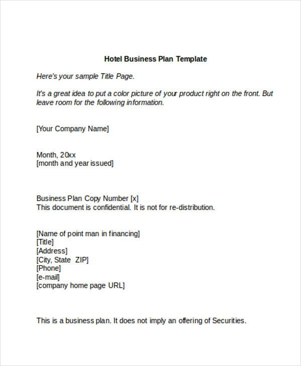 20 Hotel Business Plan Template In 2020 With Images Business
