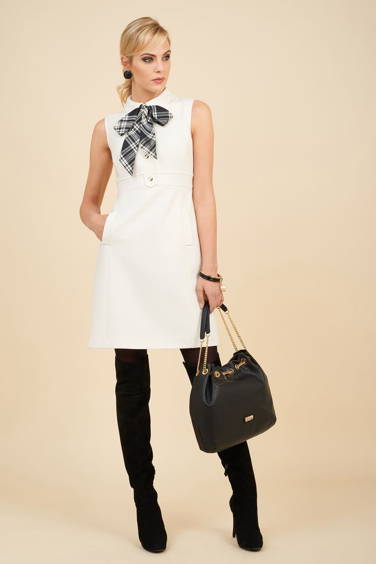 Woven comfort wool blend dress with patterned taffeta bow, Infinito bag.