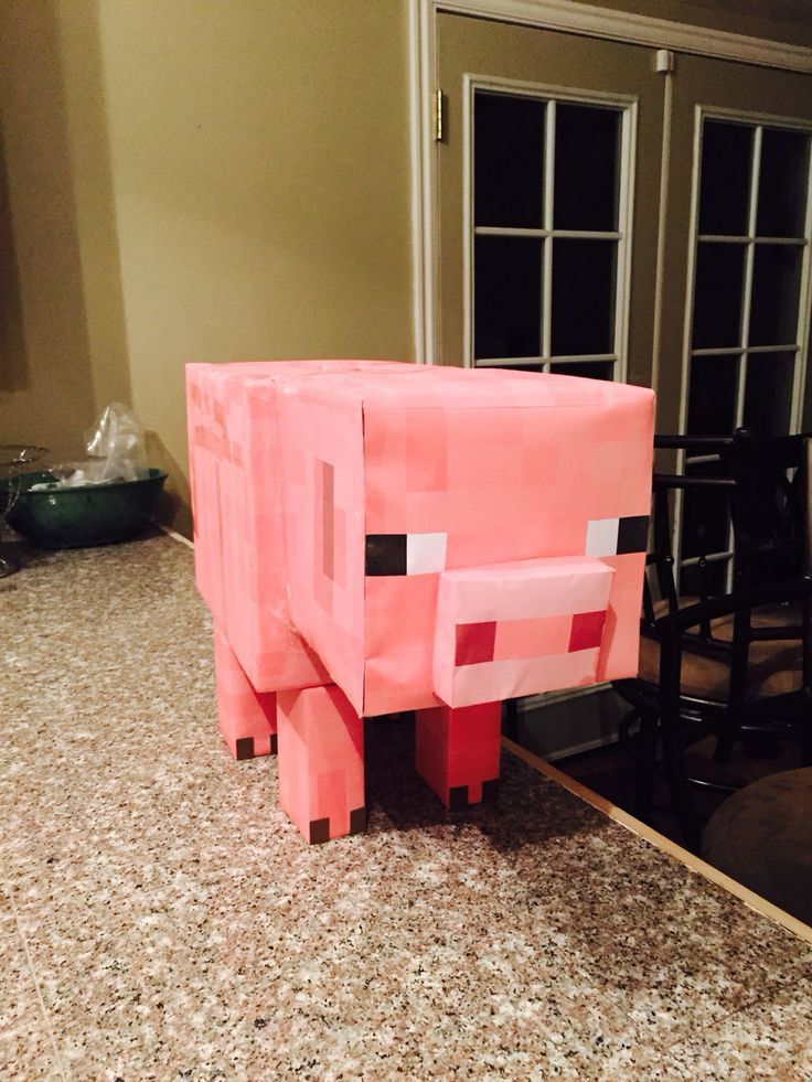 Minecraft pig, this one is actually a Valentine's box for my son.