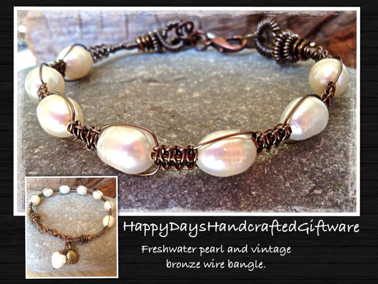 Wire macramé and fresh water pearls. Www.facebook.com/HappyDaysHndcraftedGiftware.