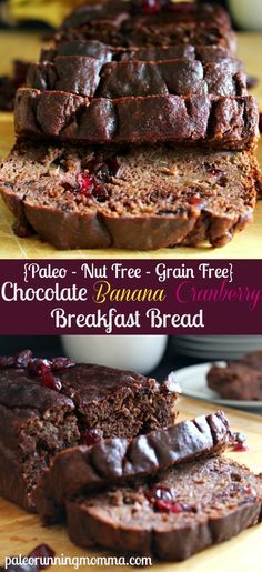 Rich, super moist and healthy recipe for Chocolate Banana Cranberry Breakfast Bread - #paleo #nutfree #grainfree