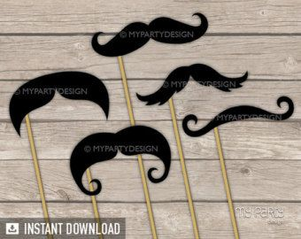 Photo Booth Props PRINTABLE Beards Props on a by mypartydesign