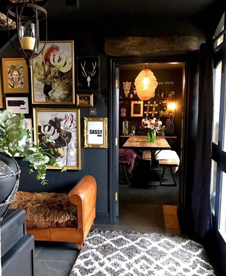 Eclectic, Dark & Glamorous Home Tour - Sally Worts, Instagram is a treasure trove full of interior style mastery and one that stands out from the crowd is the eclectic, dark and glamorous home of Sally Wort who goes by the name of Flower_Heart_Flower. #roomdecordorm