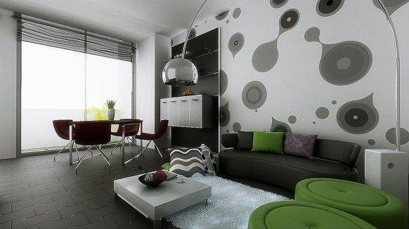 original diseño de sala comedor con dibujos de formas globulares