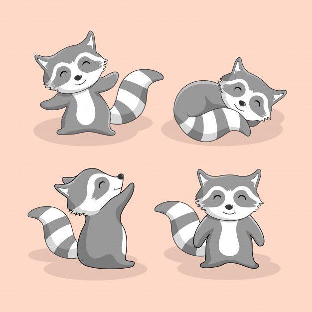 Cute Raccoon Cartoon Animal Set Raccoon Illustration Cute Raccoon Cartoon Animals