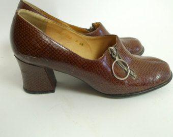 60er Jahre faux SNAKESKIN Drucken Schuhe mit Block Absatz und Seite Reißverschluss mod gogo Stiefel Pumps RETRO Roller Mädchen uk5