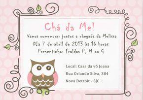Convite Chá de bebê - Coruja