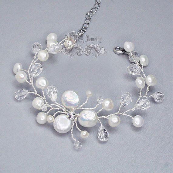 Bridal Jewelry Sets Wedding Necklace Bracelet von adriajewelry