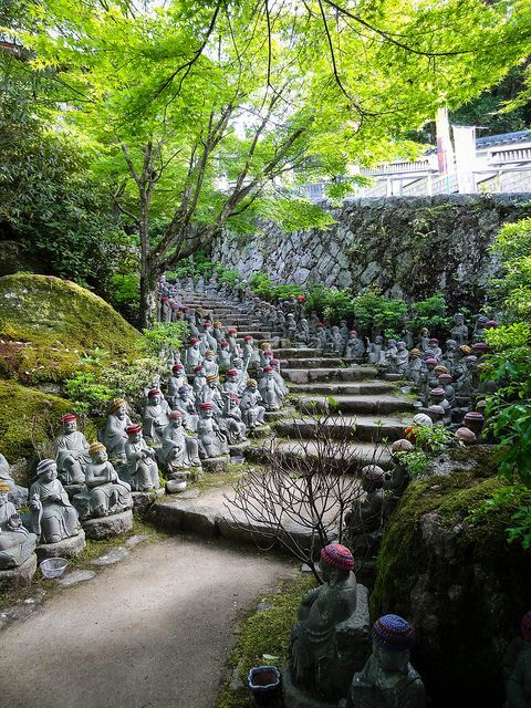 Jizo statues at Daisho-in Temple, Miyajima, Hiroshima, Japan