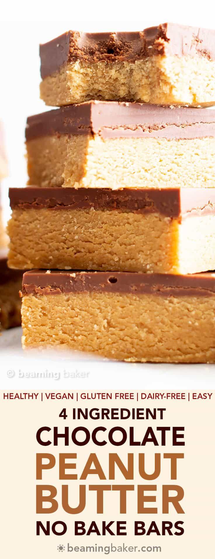 4 Ingredient Easy Vegan Chocolate Peanut Butter Ba…