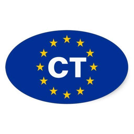 """FOUR Catalonia """"CT"""" European Union Flag Oval Sticker"""