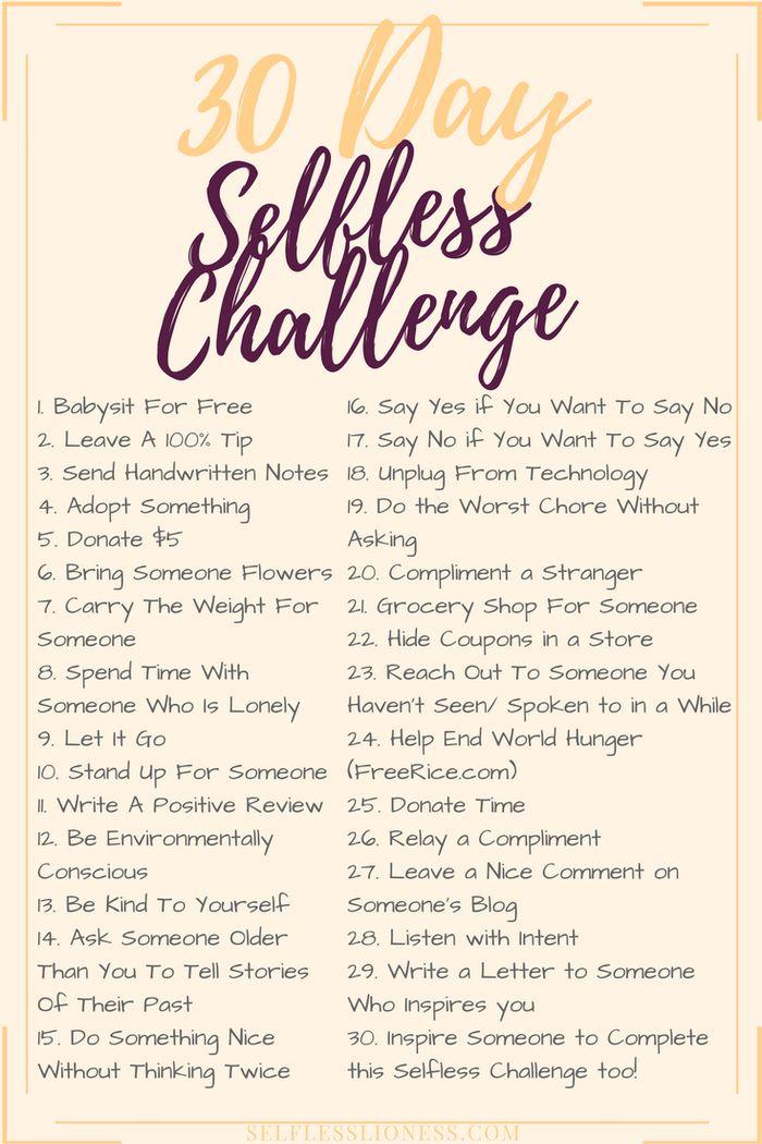 30 Day Selfless Challenge