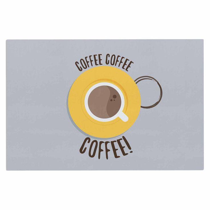 "Jackie Rose ""Coffee!"" Grey Yellow Decorative Door Mat"