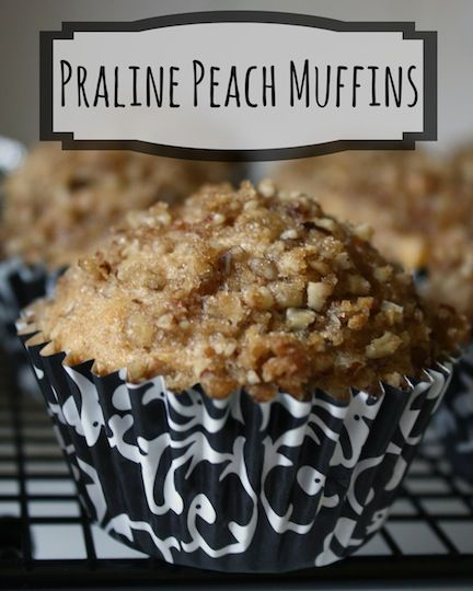 These tender Praline Peach Muffins are bursting with peach flavor and topped with a delicious pecan praline streusel! Make ahead - these freeze great! ~ from Two Healthy Kitchens at www.TwoHealthyKitchens.com