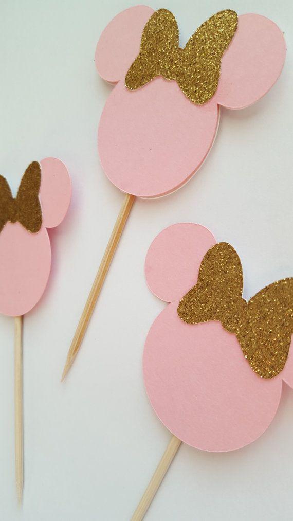toppers de cupcake de ratón de minnie de rosa y por declanandsmith
