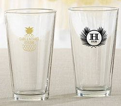 Personalized 16 oz. Pint Glass - Tropical Chic ~ 30022NA-HV